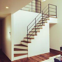 Pin on 自宅 Loft Interior Design, Interior Stairs, Loft Design, House Design, House Stairs, Facade House, Flooring For Stairs, Modern House Facades, Stair Handrail