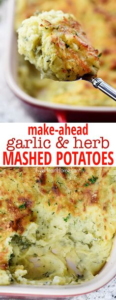 Make-Ahead Mashed Potatoes ~creamy and decadent, this scrumptious side dish is loaded with mellow garlic & fresh herbs and topped with a golden Parmesan crust.and since it's make-ahead, it's perfect for holiday meals from Easter to Thanks Easter Side Dishes, Christmas Side Dishes, Side Dishes For Chicken, Dinner Side Dishes, Thanksgiving Side Dishes, Side Dishes Easy, Vegetable Side Dishes, Side Dish Recipes, Thanksgiving Recipes