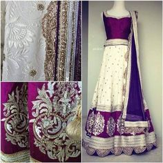 very beautiful combination of white & violet bridal wear. <3
