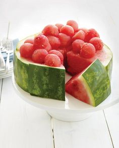 a. NOT a cake.  b. watermelon is a perfectly lovely fruit and doesn't need the indignity of being posed as a cake.  c.  this is a completely lame presentation of a watermelon.