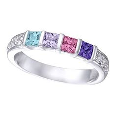 Amazon.com: Silver Princess Cut Channel Set Custom Birthstone Mothers Ring with 1 2 3 4 5 or 6 Birthstones and CZ Side Accent Stones Personalized Family Jewelry: Clothing