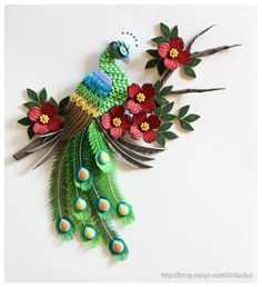paper quilling - dogwood flower & peacock http://blog.naver.com/101kaikei/220174362032