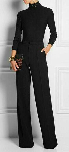 😃Learn to style a classy black turtleneck sweater outfit in a casual way for the office or for work. Black turtleneck outfit offices are chic and clas All Black Outfits For Women, Black And White Outfit, Black Women, Black Pants Outfit Dressy, Turtleneck Outfit Work, Sexy Women, Dressy Winter Outfits, All Black Outfit For Work, Chic Black Outfits