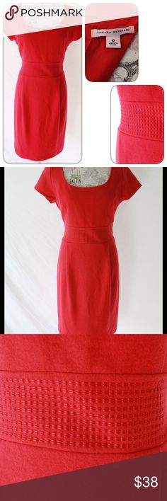 """Red 100% Wool Banana Republic Dress, sz 10 This is a red (true red, not orange red) 100% wool, fully lined short sleeve dress in size 10 by Banana Republic. Pre-owned in new condition. No signs of wear, including lining and zipper. Back zip. Dress is 95% poly, 5% spandex.  When flat on front side, dress measures 19"""" from underarm to underarm, 15.5"""" at waist, 19"""" at hips and has a total length of 40"""". Can be worn with long sleeve, collared blouse underneath or cardigan over the dress.  Ready…"""