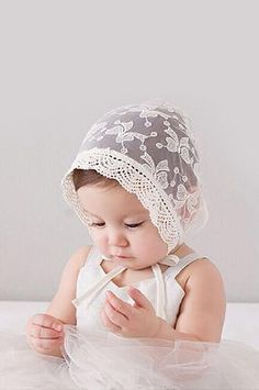 Product Details: These vintage lace baby bonnet hats are an adorable addition to baby shoots and will help make your photos different from the others.