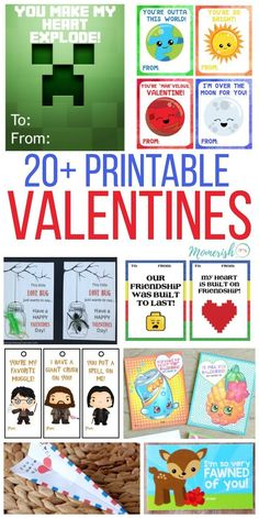 DIY Valentines Day Cards for Kids - Over 20 printable valentines day cards that your kids will love! via /keciahambrick/