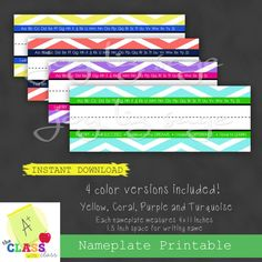 Chevron Desk Nameplate 4-pack Digital Download