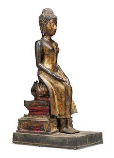 A GILT-LACQUERED BRONZE FIGURE OF BUDDHA SHAKYAMUNI Standing Buddha Statue, Thai Art, Fantastic Art, 17th Century, Asian Art, Sculptures, Bronze, Period, Idol