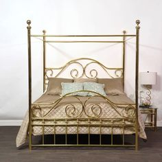 Swirls and Curls Brass Bed King 4 Post Bed, Brass Bed, American Manufacturing, Brass Coffee Table, Metal Beds, King Beds, Bedding Shop, Canopy, Bedroom Decor