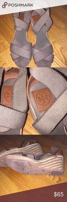 Tory Burch Army Green Espadrille Wedge Crisscross style wedge sandal! Very comfortable with minimal wear. See picture of one side of sandal with small defect. Otherwise in great shape! Tory Burch Shoes Espadrilles