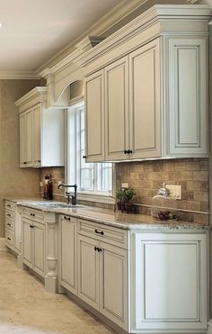 Cool Kitchen Cabinet Paint Color Ideas Antique White Cabinets with Clipped Corners on the Bump Out Sink, Granite Countertop, Arched Valance.Antique White Cabinets with Clipped Corners on the Bump Out Sink, Granite Countertop, Arched Valance. Kitchen Corner, Kitchen Redo, Rustic Kitchen, New Kitchen, Kitchen Ideas, Kitchen White, Shaker Kitchen, Kitchen Modern, Corner Sink