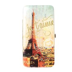 <P>This hardcase wallet is the perfect place to start saving for that dream trip to Paris. Metallic faux leather has a photo of the Eiffel Tower overlooking the city, a passport stamp from 1919 and the French word ''Je t'aime'' in gold across the front. The inside has slots for credit cards, ID, cash and change.</P><UL><LI>7 1/4''L x 3 7/8''H x 1/2''W<LI>Tab snap closure</LI></UL>