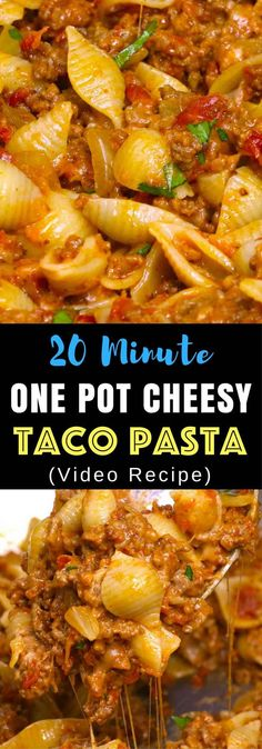 : One-pot Cheesy Taco Pasta – One of the easiest quick dinner recipes. It's loaded with ground beef and shredded cheddar cheese. So delicious. This simple and easy recipe comes together in 20 minutes. Quick and easy recipe. Video recipe.