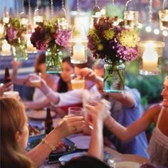 2012 Trend: hanging candles and flowers (especially from mason jars)