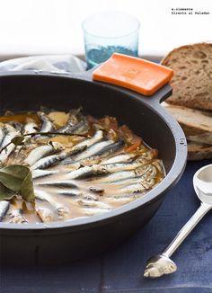Parrochas o Sardinillas a la cazuela con patatas, receta de Galicia