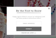 The ecommerce email signup popup: how to make yours great (without annoying your customers) Email Marketing Design, Email Design, Digital Marketing, Newsletter Design, Newsletter Signup, Web Design Inspiration, Blog Design, App Design, Design Ideas