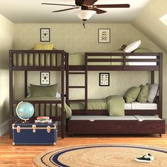Corner Bunk Beds, Loft Bunk Beds, Bunk Beds Built In, Bunk Bed With Trundle, Bunk Rooms, Bedrooms, Adult Bunk Beds, Kid Beds, L Shaped Twin Beds