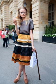 striped earth toned high waisted midi skirt #fall #fashion