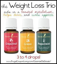 The Weight Loss Trio - Grapefruit, Lemon and Peppermint Essential Oils. Mix together and drink 3 to 4 drops with water. Boasted Metabolism, Detox Your Body, and Curb Appetite. Another weight loss essentail water recipe on Frugal Coupon Living.
