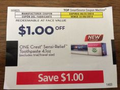 Crest Semsi-Relief Toothpaste 4oz.  $1.00 on ONE (1)  05/31/2014