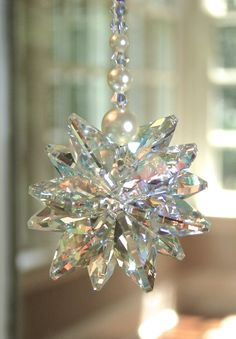 """Items similar to Swarovski Crystal Suncatcher Aurora Borealis Cluster with Pearls, Shimmers in Low Light, for Car / for Home - """"STELLA AB with PEARLS"""" on Etsy Swarovski Crystal Beads, Swarovski Pearls, Hanging Crystals, Beaded Christmas Ornaments, Sun Catcher, Crystal Cluster, Low Lights, Krystal, Wind Chimes"""