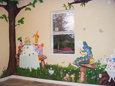 Cute Bedroom Design for Kid with Cartoon Characters Theme: alice in wonderland wall painting for kid bedroom design Disney Themed Rooms, Disney Rooms, Girl Nursery, Girl Room, Girls Bedroom, Child's Room, Alice In Wonderland Bedroom, Kids Bedroom Designs, Bedroom Ideas