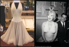 Ivory halter dress with chiffon skirt worn by Marilyn Monroe at a press conference for 'Let's Make Love', 1960.
