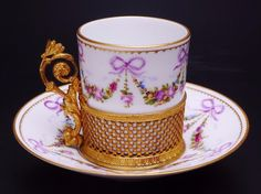 Sevres Porcelain Demitasse Cup with Holder and Saucer | eBay