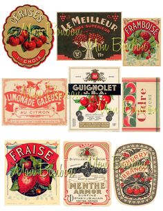 Vintage Fruit, Cherries, Strawberries Label Ephemera Digital Collage Sheet. $2.99, via Etsy.