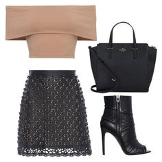 """""""Black and nude"""" by beautyfoolyou on Polyvore featuring Elie Saab, Pierre Balmain and Kate Spade"""