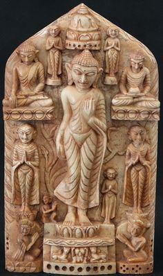 Burmese Buddhist Iconography - Burmese Andagu Stone Stele