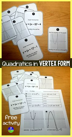 Free task cards activity for graphing and writing equations for vertex form parabolas.