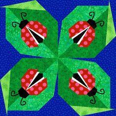 Ladybug Paper Pieced Quilt Block