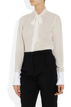 Valentino|Silk-georgette and cotton-piqué #blouse