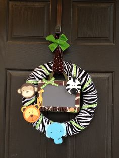 Safari Theme Wreath Nursery or Classroom by PolkadotsOriginals