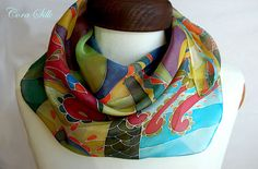 Hand Painted Silk Scarf. Graphic Red Green Blue by Bettineum, $65.00