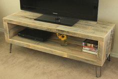 Rustic Reclaimed Barn Wood TV Stand  Solid Oak W/ by UrbanWoodWork, $350.00 +$50 SH