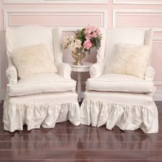 Slipcovered Chairs Shabby Chic | Shabby Cottage Chic Pair Of White Linen  Slipcovered Wingback Armchairs .
