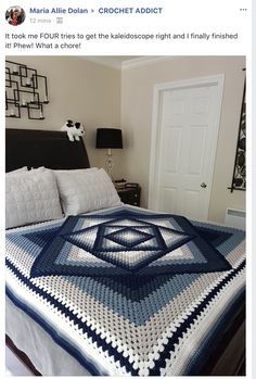 Free Crochet Tutorial Smart and helpful tutorial let you make this awesome blanket quite fast. To get more inspiration and free patterns join us >>>Knitted bedspread models, # weaving articles - Diy And CraftThis Pin was discovered by هنا*Our room Crochet Afghans, Crochet Quilt, Afghan Crochet Patterns, Crochet Squares, Crochet Granny, Crochet Stitches, Free Crochet, Granny Pattern, Knitting Patterns