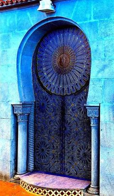 Blue Door and Entrance in Rabat, Morocco Cool Doors, The Doors, Unique Doors, Entrance Doors, Windows And Doors, Grand Entrance, Knobs And Knockers, Door Knobs, When One Door Closes