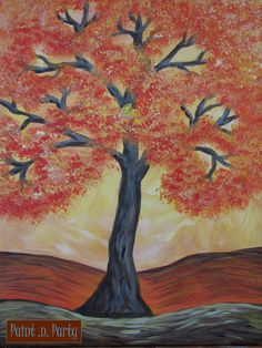 PAINT n Party, Helena MT...  Www.paintnpartyMT.com.  Helena's only Paint n Sip Studio Lucy Davis, Illustrator,  2013 **Fall tree scene**