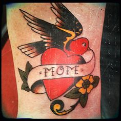 Tattoo is on the anterior of my right wrist (when in anatomical position.) My right arm is going to represent a timeline with tattoos representing points throughout my life. My life starts with Mom and Dad. thus they are the first tats. Tattoo design by Sailor Jerry. Artist is Tony at Dogfather Tattoo in Fremont CA.
