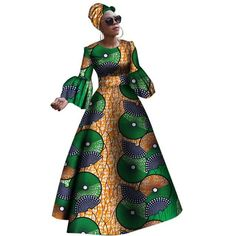 Image of 2018 African dresses for women New African dashiki rche dress for women Africa women long sleeves party dress plus size Ankara Dress Styles, African Maxi Dresses, African Dresses For Women, African Attire, African Wear, African Outfits, African Fashion Designers, African Inspired Fashion, African Print Fashion