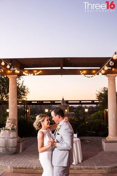 The couple's first dance during their beautiful vineyard wedding reception.Check out more real photos from a fall winery wedding at Mount Palomar Winery in Temecula. #mountpalomarwineryweddings