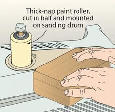 To quickly buff out a wax finish on small projects, turn to your oscillating spindle sander. Just cut a thick-nap paint roller in half and slide it over a spindle drum. It fits perfectly and works quickly to bring out a wax luster.