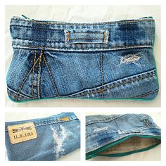 Denim Clutch Bags, Denim Handbags, Denim Bag, Denim Ideas, Denim Trends, Sewing Jeans, Jean Purses, Colored Jeans, Textiles