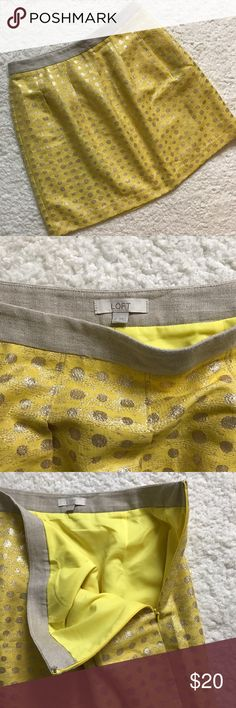 """LOFT Skirt Yellow with Gold Polka Dots This skirt is super cute and in great condition!  Fully lined and a side zipper.  Approx measurements laying flat: Waist 16"""".  Length 19"""".  Fabric is 41% cotton, 30% poly, 20% metallic, 9% nylon.  Lining 100% poly. LOFT Skirts"""