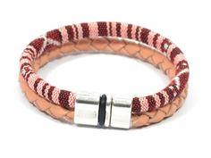 dark red aztec fabric bracelet * pink braided leather bracelet * women ethnic fabric bracelet * gifts for women * women ethnic jewelry by CozyDetailz on Etsy