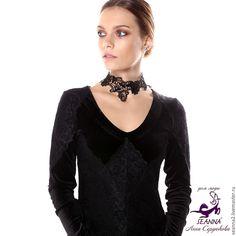 """Купить Ожерелье - чокер безразмерное кружево на ленте """"Ажурное с петельками"""" - ожерелье, колье, ожерелье купить"""