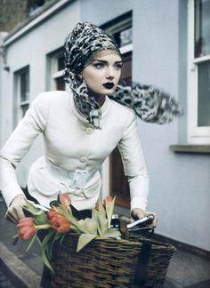 """Everyday perfection"" via Vogue Italia 2007 looks like a black and white image! love!"